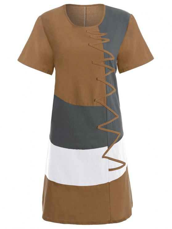 e625016aefa 2019 Plus Size Colorblock Embroidered Linen T-Shirt Dress In EARTHY ...