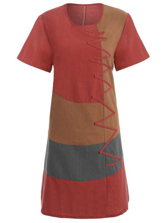 3cd867471b7 25% OFF  2019 Plus Size Colorblock Embroidered Linen T-Shirt Dress ...
