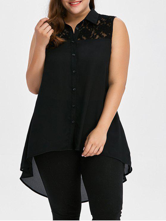 shop Plus Size Lace Insert High Low Top - BLACK 4XL