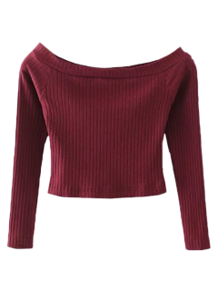 Ribbed Off Shoulder Cropped T-Shirt - Burgundy S