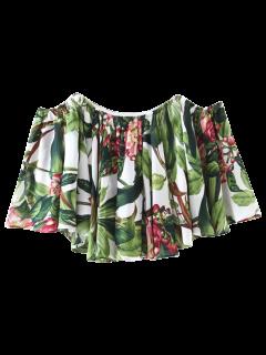 Blouse Imprimée Tropicale à épaules Dénudées  - Floral M