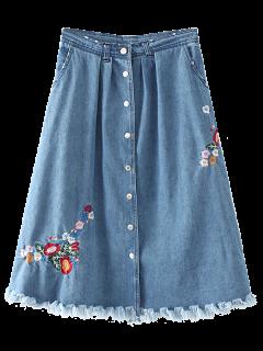 Single-Breasted Embroidered Frayed Denim Skirt - Denim Blue S