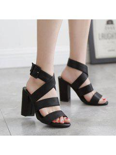 Cross Strap Block Heel Sandals - Black 38