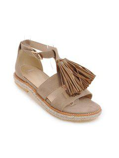 Tassels Suede Espadrilles Sandals - Apricot 37