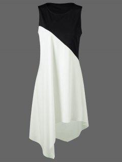 Color Block Swing Robe Sans Manches Décontractée Boutique - Blanc Et Noir 2xl