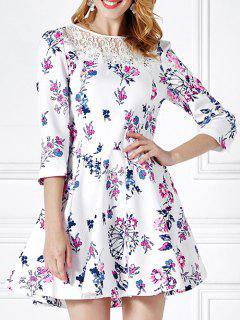 Floral Print Lace Panel Mini Flare Dress - White Xl