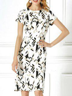 Geometric Print High Waisted Dress - Off-white Xl