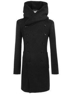 Longline Double Breasted Hooded Woolen Coat - Black M