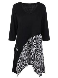 Plus Size Zebra Printed Tunic Asymmetric T-Shirt - White And Black 5xl