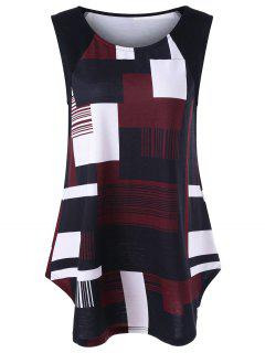 Geometric Plus Size Extra Long Tank Top - Black And White And Red 5xl