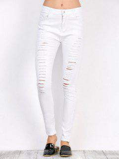 Distressed Taille Haute Pantalon Extensible - Blanc L