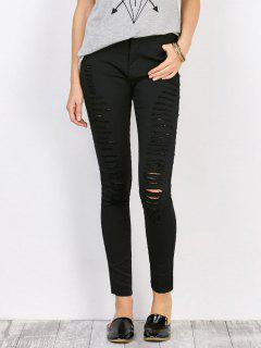 Distressed High Waist Stretchy Skinny Pants - Black L