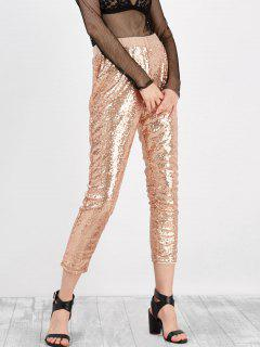 Sequined High Rise Cropped Pants - Golden 2xl