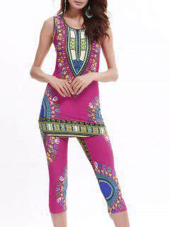 African Print Longline Tank Top And Cropped Pants - Rose Red