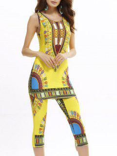 African Print Longline Tank Top And Cropped Pants - Yellow