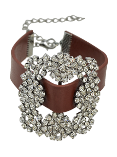 Rhinestone Faux Leather Flower Bracelet - Brown