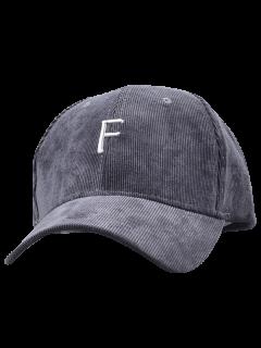 Casquette De Baseball En Velours Côtelé Avec étiquette F - Gris