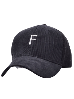 Casquette De Baseball En Velours Côtelé Avec étiquette F - Noir
