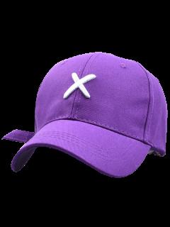 Cross Embroidery Baseball Hat - Purple