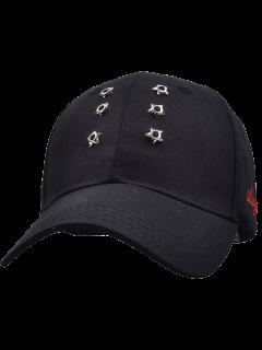 Gorra De Béisbol Con Pentagram Vertical Del Remache - Negro