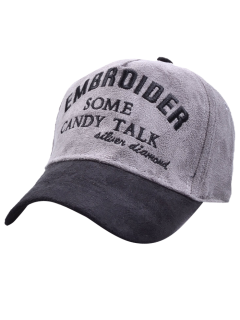 Letters Embroidery Faux Suede Baseball Hat - Gray