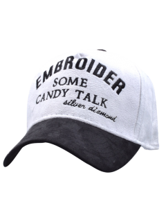 Letters Embroidery Faux Suede Baseball Hat - White