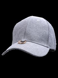 Metal Ring Embellished Baseball Cap - Gray