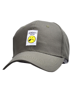 Letters Face Embroidery Baseball Hat - Pale Green