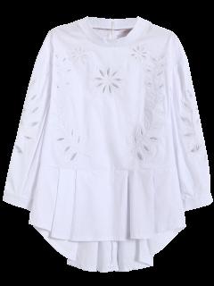 Embroidered Cutout Peplum Blouse - White M