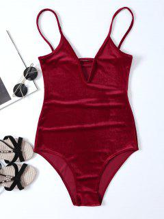 High Cut Velvet Cami Bodysuit - Red S