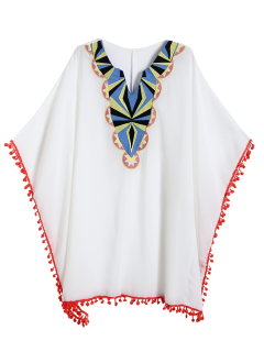 Embroidered Bib Dolman Poncho Top - White