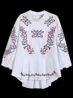 Gestickte Ständer Neck Schößchen-Bluse - Weiß