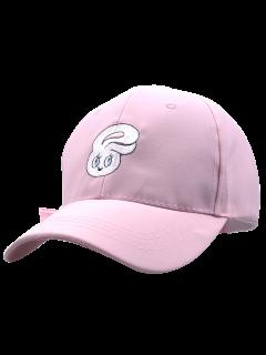 Cartoon Rabbit Head Embroidery Baseball Hat - Pink