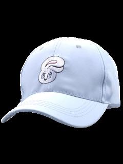 Cartoon Rabbit Head Embroidery Baseball Hat - Light Blue