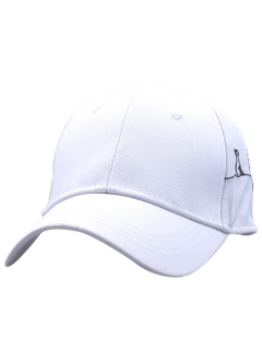 Little Cat Posture Embroidery Baseball Hat - White