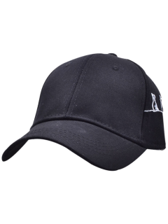 Little Cat Posture Embroidery Baseball Hat - Black