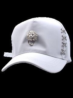 Cabeza Del Dragón Aldaba Sombrero De Béisbol - Blanco