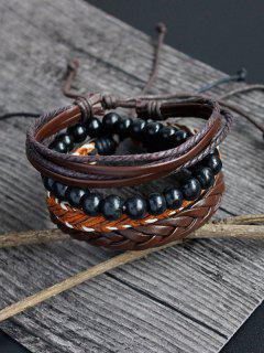 PU Rope Woven Beaded Bracelet Set - Brown