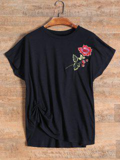 T-shirt Brodé De Fleurs - Noir
