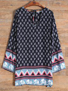 Long Sleeve Elephant Printed Dress - Black S