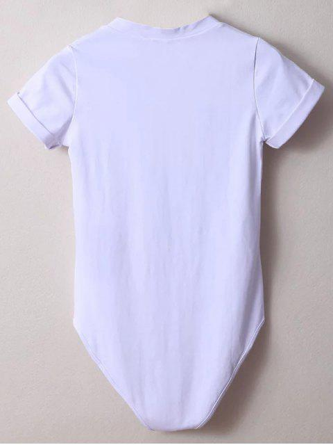 best Skinny Plunging Neck Bodysuit - WHITE M Mobile