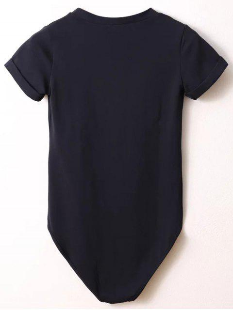 new Skinny Plunging Neck Bodysuit - BLACK M Mobile