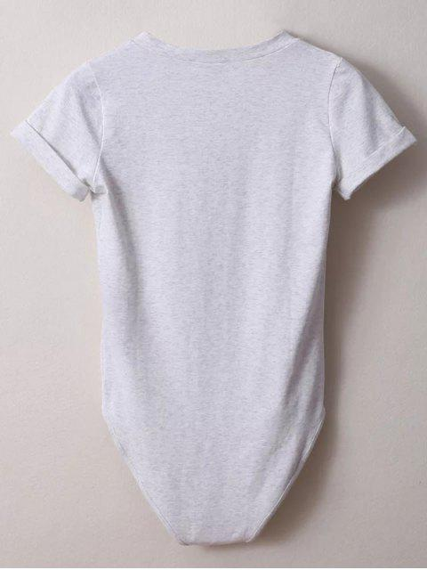 outfit Skinny Plunging Neck Bodysuit - LIGHT GRAY M Mobile