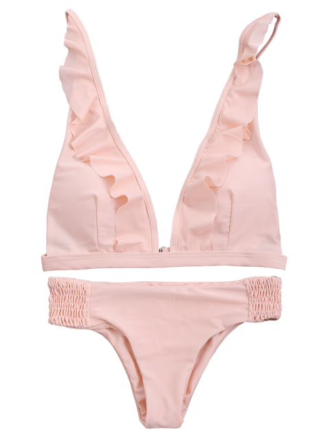womens Ruffles Plunge Bathing Suit - PINK S Mobile
