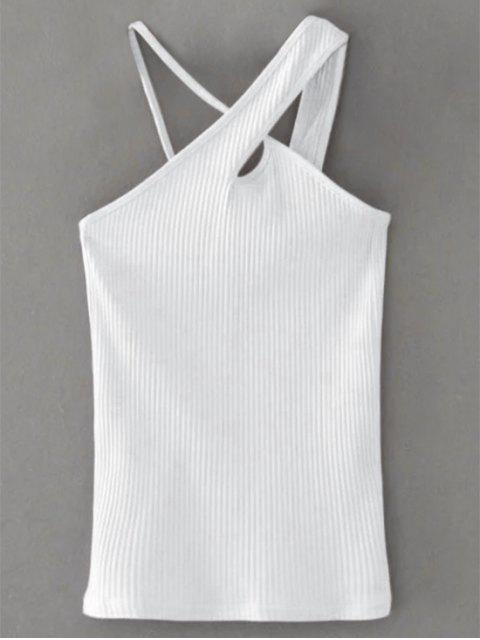 trendy Cross Front Asymmetric Ribbed Top - WHITE M Mobile