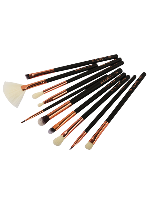 women 10 Pcs Eye Makeup Brushes Set - BLACK  Mobile