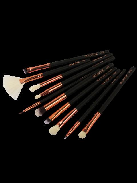 Ensemble de 10 brosses de maquillage pour yeux en fibre - Noir  Mobile