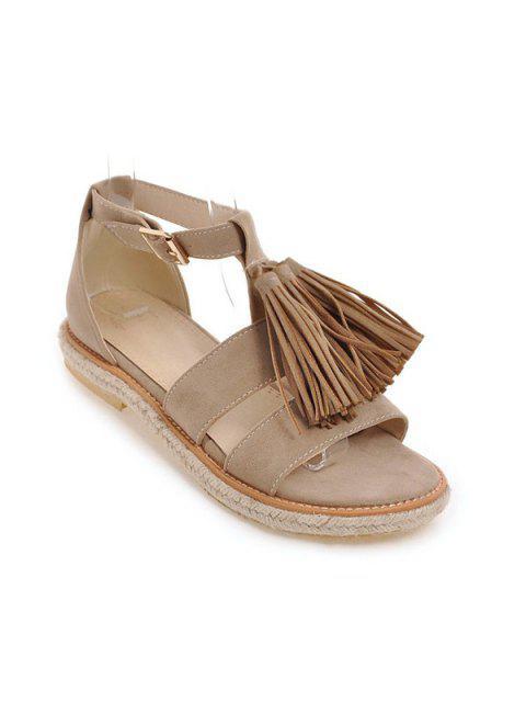 Sandalias de las borlas del ante Alpargatas - Albaricoque 37 Mobile
