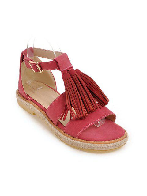 trendy Tassels Suede Espadrilles Sandals - WATERMELON RED 39 Mobile