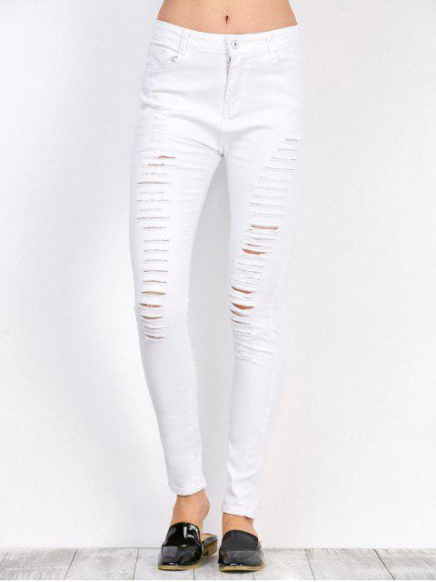 sale Distressed High Waist Stretchy Skinny Pants - WHITE 2XL Mobile